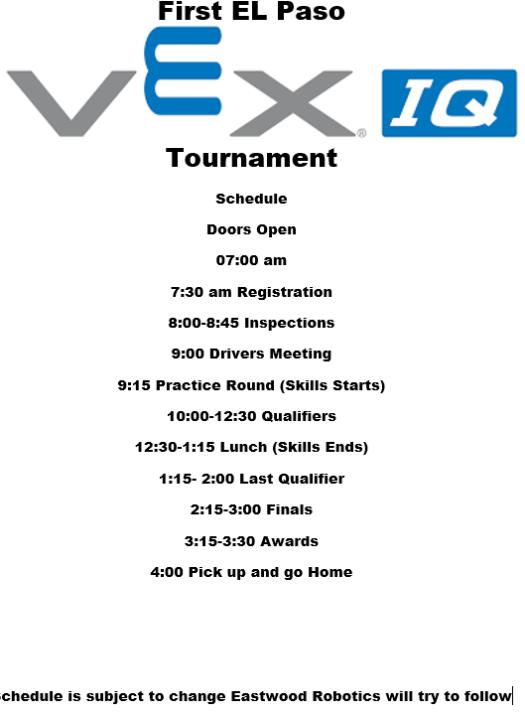 Vex Tournament Info – Eastwood Robotics